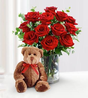 Classic Red Rose Bouquet with Bear